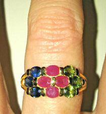 Vintage Sapphire 22k Gold Ring Ruby Green Tourmaline Natural Gemstone Stamped