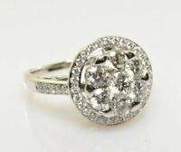 Diamond Cluster Halo Ring 1.73 Carats VS in 14k White Gold Size 7