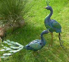 Garten Figur 2er Set Pfau  Metall bunt Tier Vogel  Deko Caruso Höhe 81cm+ 57cm