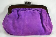 VINTAGE 1980s purple suede leather clutch bag plastic snap frame Debenhams