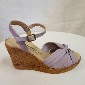 Eric Michael Destiny Women's Lavender leather wedge heel sandal EUR 39 US 8.5