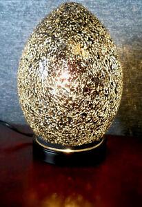 Brand New LAMP Mosaic Glass Crackle Black Mini Egg Table Light 21 cm Home Decor
