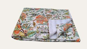 Kantha Quilt Reversible Throw Bed cover,Handmade Floral Queen Size Blanket/