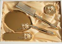 Vintage Flowers Decorative Hand Mirror Brush & Comb Vanity Set, Engagement Gift