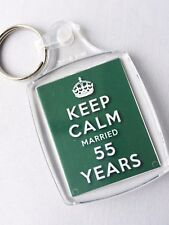 KEEP CALM 55th EMERALD WEDDING ANNIVERSARY KEYRING MARRIED 55 YEARS