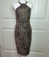 H&M Womens Sz 8 Bodycon Dress Racer Back Snakeskin Sheath Sleeveless Pleats NWT
