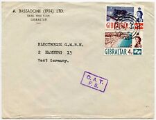 GIBRALTAR OAT ONWARD AIR TRANSMISSION FS to GERMANY PRINTED ENV BASSADONE