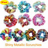 8 Pack Shiny Metallic Hair Scrunchies Ponytail Holder Elastic Hair Ties Bands sm