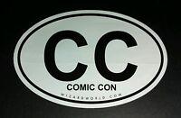 CC COMIC CON COMIC-CON WIZARD WORLD B&W OVAL 4x6 STICKER
