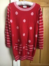 Girls Age 5-6 Red Long Sleeved Jumper Dress From Next