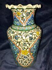 "Vintage 1960s Turkish Ceramic Pottery Hand Painted Polychrome Style Vase 10"""
