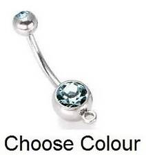 Double Gem Belly Bar with Loop - Add your own Charm - Choose Colour !