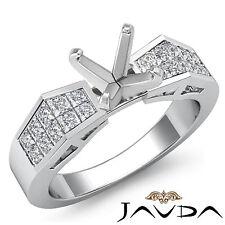 Brilliant Diamond Engagement Ring Platinum 950 Multi Shape Semi Mount 0.68Ct