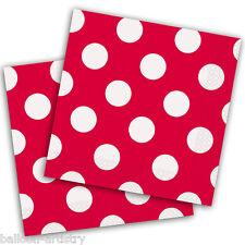 16 ROSSO BIANCO Polka Dot Spot Stile Party Monouso 33 cm Carta Tovaglioli