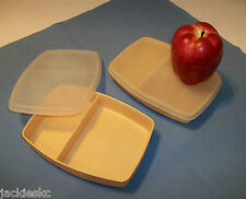 Tupperware 2 GOLDEN WHEAT Packette Divided Lunchables ~NLA ~lunch box ~picnic