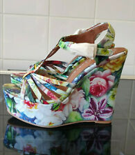 JEFFREY CAMPBELL WOMEN'S SWANSONG GREEN FLORAL WEDGES - Size UK3 / EUR 36