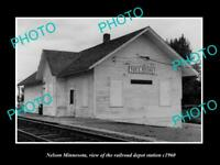OLD LARGE HISTORIC PHOTO OF NELSON MINNESOTA, THE RAILROAD STATION c1960