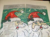 """2 Vintage 1995  Santa Claus Christmas Garden Art Flag (10"""" x 13"""") NOS  / f2"""
