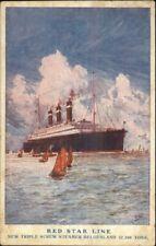 Red Star Line Steamship Belgenland c1920 USED Postcard - Poster Art