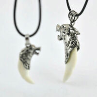 Men's Vintage Stainless Steel Wolf Tooth Charm Pendant Necklace Cord For Gift