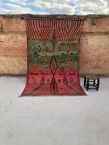 Authentic Vintage Moroccan Berber Rug Boujaad carpet handmade wool 6″x8″ feet