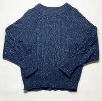 J Crew Women's Donegal cable-knit crewneck sweater Navy Blue Sz m