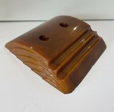More details for art deco carvacraft bakelite/phenolic/catalin amber/butterscotch double inkwell