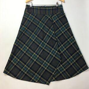Hobbs Tartan Plaid Tweed 100% Wool Skirt Vtg 8 (UK 10-12) Asymmetric Grey Blue