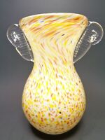 VINTAGE CZECH HAND BLOWN ART CLEAR GLASS VASE YELLOW ORANGE SPATTER WHITE CASED