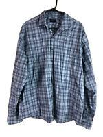 Proper Cloth Button Up Shirt Mens 2XL Blue Plaid Long Sleeve Cotton Lightweight
