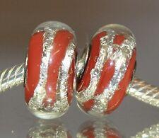 Silberfolie Rot Red Race Murano Glas Bead 925 Sterling Silber European Beads
