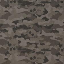 Baumwollstoff GOTS Bio Popeline Camouflage Totenköpfe grau 1,50m Breite