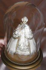 Globe vintage avec poupée mariée robe de princesse soie & dentelle - tête cire