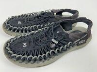 Keen UNEEK Sport Sandals Men's Size US 9 Black/Gray Woven Bungee Cord Slip-On