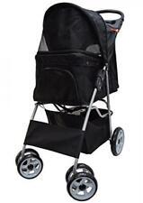 VIVO Black 4 Wheel Pet Stroller for Cat, Dog and More Foldable Carrier Strolling