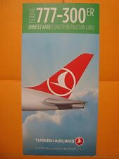 TURKISH AIRLINES THY BOEING 777 300 ER SAFETY INSTRUCTION CARD FOR COLLECTORS