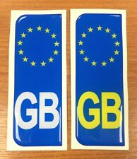 2 x Euro GB Vehicle Number Plate Stickers - 39mm - HIGH GLOSS DOMED GEL FINISH