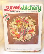 1978 Sunset Stitchery Natures WREATH Embroidery Kit 2080 Fall Bell Quail Xmas