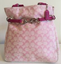 New Coach Pink Signature Soft Carryall Belted Purse A3J-6352 with Hot Pink Suede