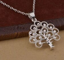 Stunning 925 Sterling Silver Tree of Life Leaf Pendant Charm Necklace Chain New
