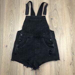 Cotton On Denim Overalls Shortalls Size 12 Black Q2