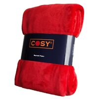 Red Throw for Sofa & Bed Warm, Soft & Dense 140x180cm & 150x200cm by COSY™