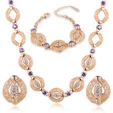 Beautiful 22k Dubai Gold with amethyst stone necklace, earring, bracelet set