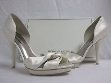 BCBG Max Azria Size 10 M Shannon Ivory Satin Open Toe Heels New Womens Shoes