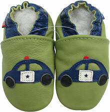 carozoo police car green 12-18m soft sole leather baby shoes slippers