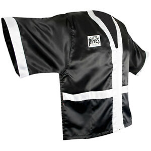 Cleto Reyes Corner Staff Satin Boxing Robe - Black/White