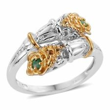 DESIGNER GENUINE KAGEM EMERALD LILY OF THE VALLEY BYPASS RING SIZE 8 18K & PLAT