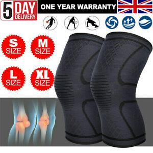 2 Knee Support Compression Sleeve Brace Patella Arthritis Pain Relief Gym UK