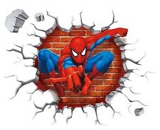 3D Spider Man Breaking thru Wall Sticker Decals Kids Nursery Room Vinyl Decor