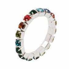 1 Multi Coloured Silver Diamante Rhinestone Toe Ring Stretch Adjustable